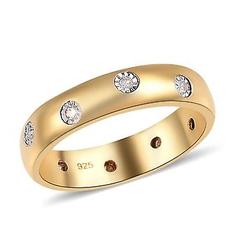 Genuine White Diamond Sterling Silver 14ct Gold Plated Wedding Band Ring