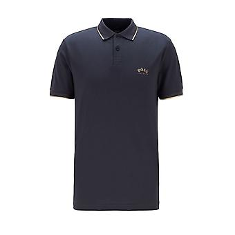 BOSS Athleisure Boss Paul Curved Polo Camicia Navy/oro