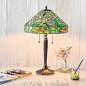 2 Lichte Tafellamp Tiffany, Donkerbronsverf, E27