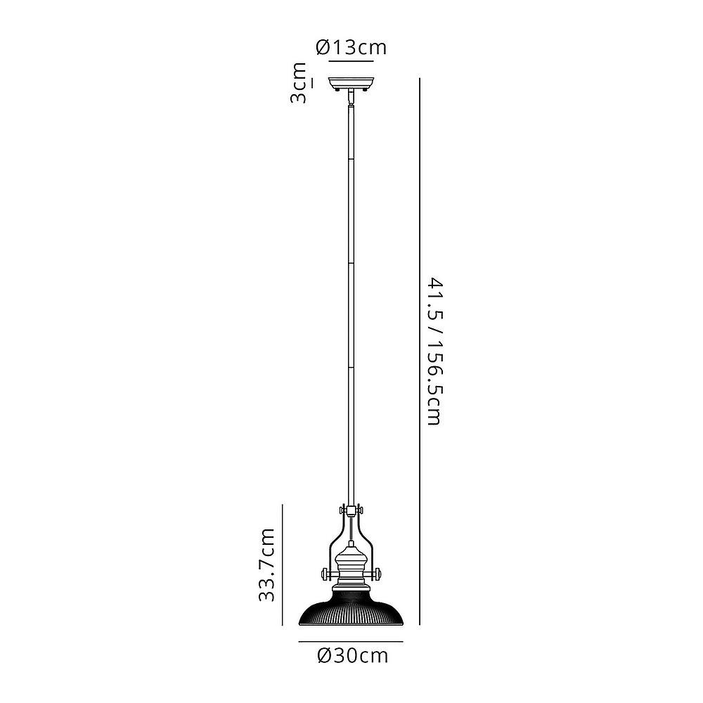 Telescopic Dome Ceiling Pendant E27 With 30cm Round Glass Shade, Polished Nickel, Clear