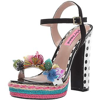 Betsey Johnson Womens Polka Fabric Open Toe Special Occasion Slingback Sandals