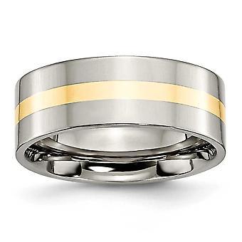 Titanium Flat Band kaiverrus 14k kulta inlay tasainen 8mm kiillotettu bändi rengas korut lahjat naisille - rengas koko: 6-13