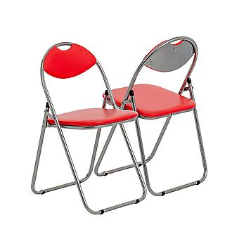 Red Padded, Folding, Desk Chair - Pack of 4