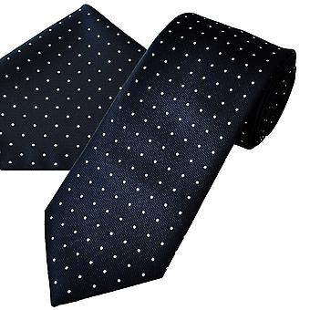 Ties Planet Gold Label Navy Blue & White Polka Dot Men's Tie & Pocket Square Handkerchief Set