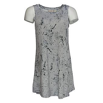 LOGOTIPO por Lori Goldstein Women's Top W/Lace Trim & Print tank Vermelho A367631
