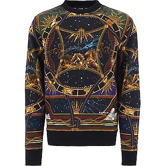 Balmain Uh03277i351aaa Men's Multicolor Cotton Sweatshirt