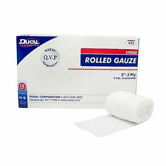 Dukal Fluff Bandage Roll Dukal Cotton 2-Ply 2 Inch X 5 Yard Roll Shape Sterile, 12 Bags
