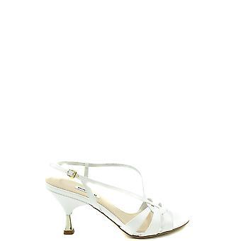 Miu Miu Ezbc057028 Sandalias de Cuero de Patente Blanca para Mujer y apos;s