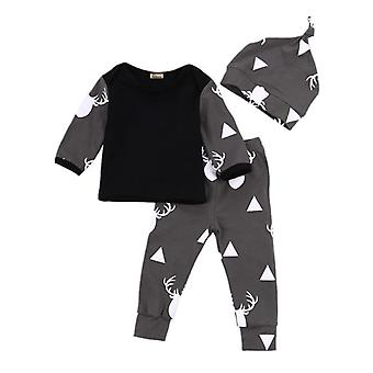 Christmas Baby Clothes Set- Deer Tops T-shirt / Pants Leggings Hat, 3pcs