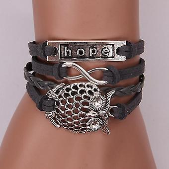Vintage Owl Hope Bracelet PU Leather Men Bracelet Muiltlayer Couple Bracelet