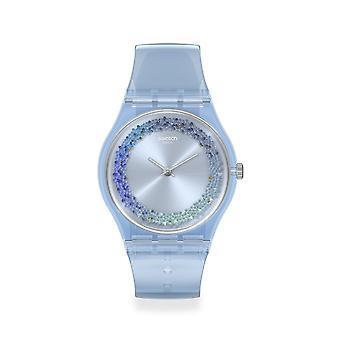 Relógio plástico transparente azul gl122 do swatch