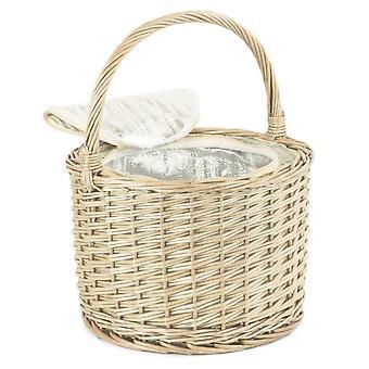Round Chiller Wicker Basket With Cream Tartan Lining
