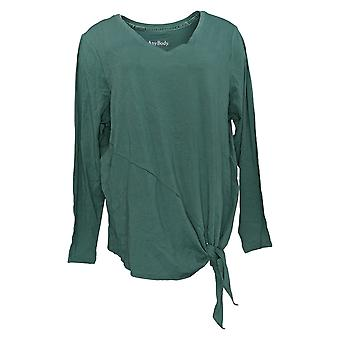 Anybody Women's Top Long Sleeve Side Tie Green A372098