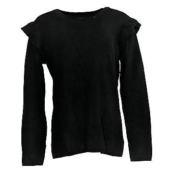 Du Jour Mujeres's Suéter Rib Knit w/ Ruffle Hombro Detalle Negro A303265