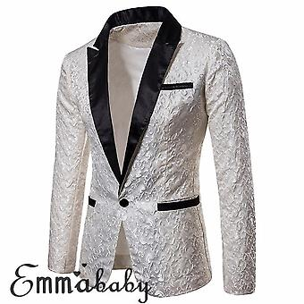 Men Luxury Slim Fit Formal One Button Suit Blazer Business Coat Jacket