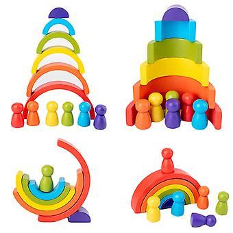 DIY children'apos;s деревянная игрушка радуги творческой деревянной радуги сложены баланс блоков детская игрушка Монтессори образовательные игрушки для детей