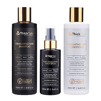 Queues épaisses stimulant la croissance des cheveux pour les femmes 3-pack: shampooing, revitalisant et sérum