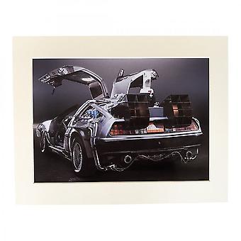 Larrini Back To The Future Delorean Rear Shot A4 Mounted Photo