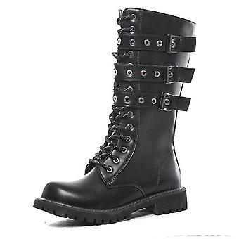 Men & apos;ق الأحذية الجلدية دراجة نارية, الأحذية القتالية منتصف الساق العسكرية