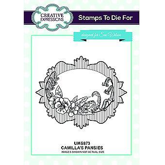 Kreative udtryk Camilla's Stedmoderblomster Pre Cut Stamp Co-ords med CED4384