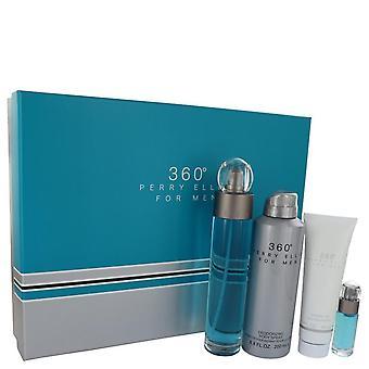 Perry Ellis 360 Gift Set By Perry Ellis 3.4 oz Eau De Toilette Spray + 6.8 oz Body Spray + 3 oz Shower Gel + .25 oz Mini EDT Spray