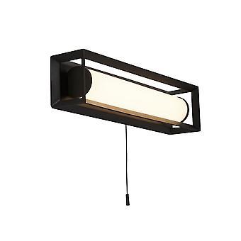 Luz rectangular led de pared, negro mate - 300 mm con interruptor de tracción