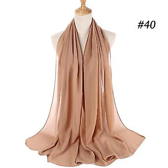 Women Plain Bubble Chiffon Scarf, Hijab Wrap, Printe Solid Shawls, Headband,