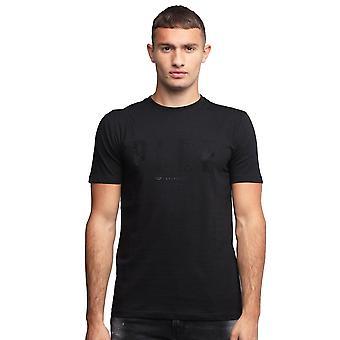 Policía Ursa 7365 Diamantes Logo impresión camiseta de media manga - Negro