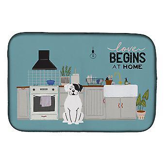 Carolines Treasures  CK7818DDM White Boxer Kitchen Scene Dish Drying Mat
