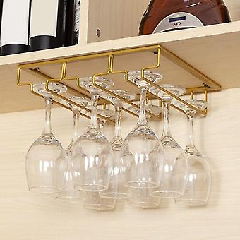 Modern contemporary 3 rows overhead wine glasses rack holder
