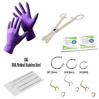 14-osainen nenälävistyssarja - 6 nenän lävistävää korua, käsineitä, neuloja + enemmän