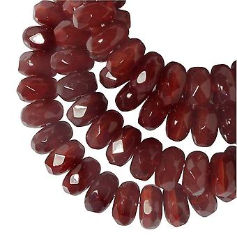 Czech Glass Beads, Faceted Rondelle 3x5mm, Red Opaline, 1 Strand, by Raven's Journey