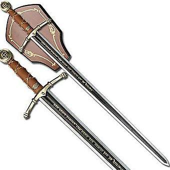 "Knight templar encryption chain handle sword w/ wall mount 44"""