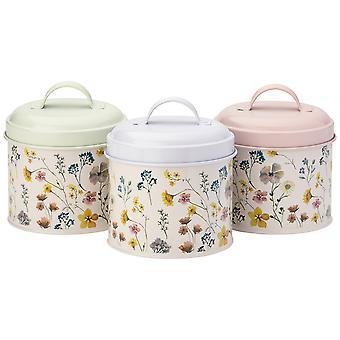 English Tableware Co. Pressed Flowers Set of 3 Storage Tins