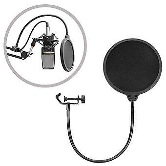 Studio Microphone Mic Round Shape Wind Pop Filter Mask Shield With Stand Clip