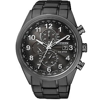 Borger At8105-53e Eco-drev A.t. World Time Chronograph Black Steel Herre Watch