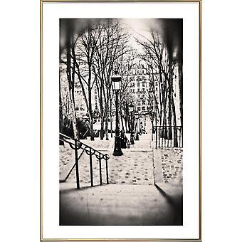 JUNIQE Print - Montmartre, Paris - Attractions & LandmarkS Poster in Grey & Black
