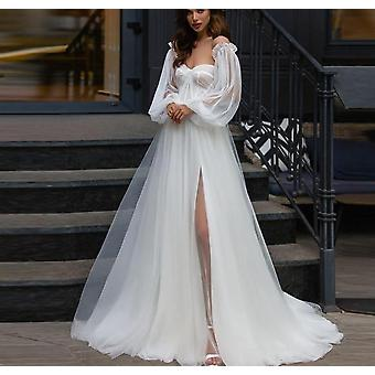 Boho Robes de mariée avec manches feuilletées détachables