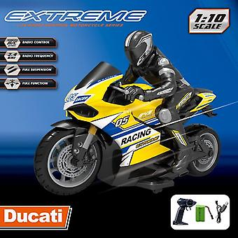 1:10 Scale Remote Control Motorcycle Racing Motorbike Electric Off Road Vehicle Cars Toys(Yellow)