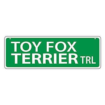 """שלט רחוב, פלסטיק, צעצוע פוקס טרייר שביל, 17"""" X 6"""""""