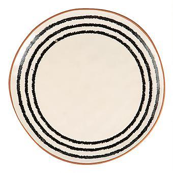 Ceramic Stripe Rim Dinner Plate Patterned Coloured Dinnerware 26cm Monochrome