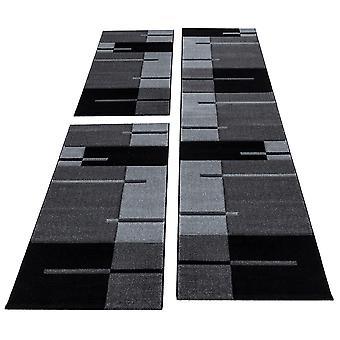 Bettumrandung Läufer Teppich Modern Designer Läuferset Kariert Muster 3 Teilig Schwarz Grau
