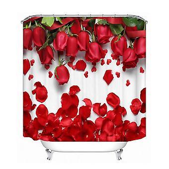1.8X1.8m 3d ruusu vedenpitävä suihkuverho polyesteri kangas kylpyhuone kodin sisustus 12 koukut dt684