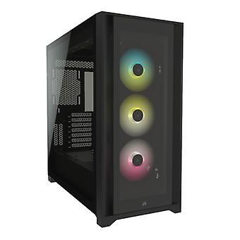 Corsair iCUE 5000X RGB Gaming Case mit 4x Gehärtetem Glaspanels, E-ATX, 3 x AirGuide RGB Lüfter, Beleuchtungsknoten CORE enthalten, USB-C, Schwarz