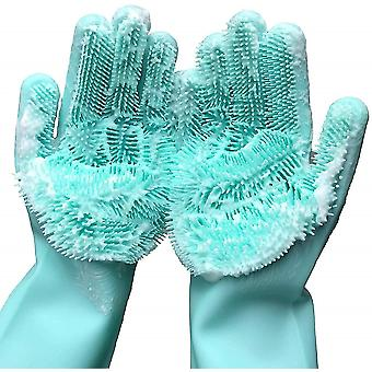 Magic Silicone Gloves Scrubbing Gloves For Dishes Dishwashing Gloves(Green)