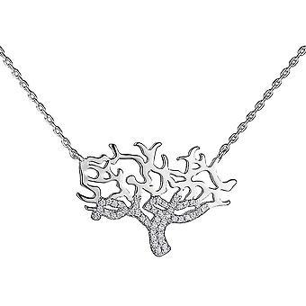 Naszyjnik z srebrnego łańcuszka jedna biżuteria cyrkonia 18 cala