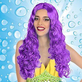 Kiharat hiukset peruukki violetti 111237