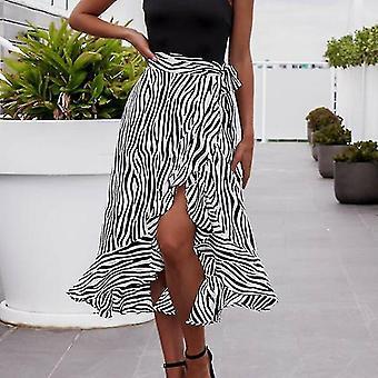Frauen Sommer High Waist Zebra-Streifen Rock, Plissee Wrap Sarong Baumwolle, Lang(E)