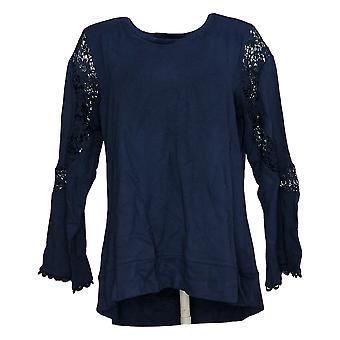 DG2 przez Diane Gilman Damska bluza Long Slv Lace Hem Navy Blue 739742