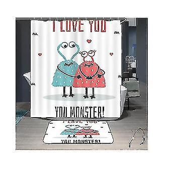 Cute Cartoon Couple Shower Curtain Toilet Bathroom Partition Curtain Blackout Curtain(GROUP4)